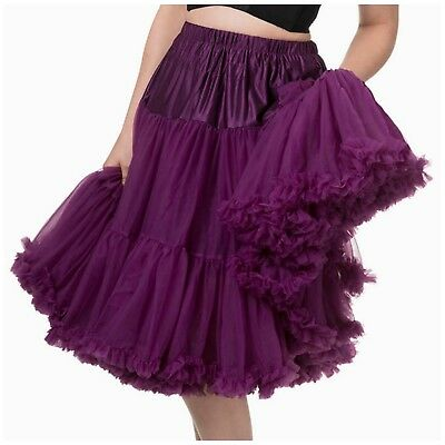 Banned Lifeforms 26 Inch Purple Aubergine Petticoat Rock PinUp 50s Plus XL-2XL