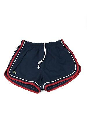 VTG 1980s Izod Lacoste Red White Blue Short Swim Trunks