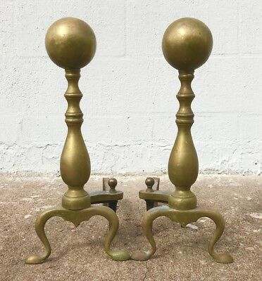 """PAIR Vintage Antique Brass and Cast Iron Fireplace Andirons - 18"""" T x 8"""" W"""