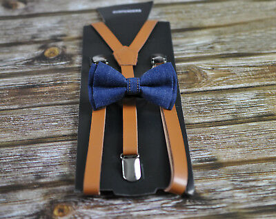 Boy Baby Kids Navy Blue Denim Bow Tie + Brown Leather Adjustable Suspenders Set