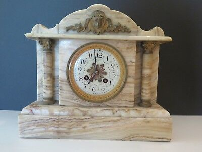 Antique Caldwell Marble Mantel Clock French Chimes & Columns & Bronze Gilt 12""