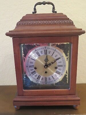 """Antique Herschede Clock Wood with Handle Chime Clock Mantel Handsome 15"""" High"""