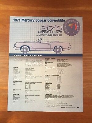 1971 Mercury Cougar Convertible Specification Sheet Magazine Ad