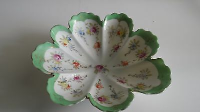 Vintage Trinket, candy or soap dish shell shaped green trimmed floral design