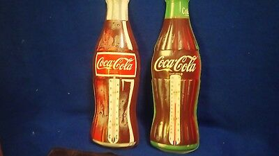 LOT of 2  Coca Cola bottle  thermometer Canada and Donasco old sign vintage coke