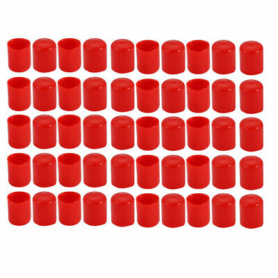50Pcs 19mm Inner Dia PVC Flexible Vinyl End Cap Screw Thread Protector Red