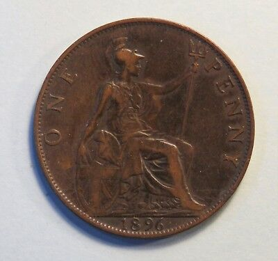 1896 Great Britain One Penny Bronze World Coin UK England Queen Victoria GB b