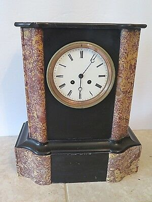 "Antique French Mantel Clock Marble & Slate Stately with Key Chimes Runs 15"" High"