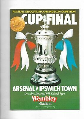 1978 FA Cup Final programme Arsenal v Ipswich Town