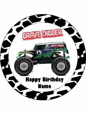 GRAVE DIGGER Edible Wafer Paper Birthday Cake Decoration & 12 Cupcake Toppers