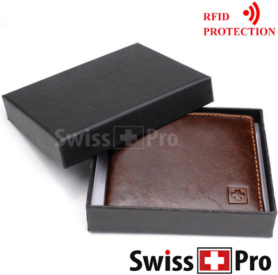 GENUINE LEATHER Wallet for Men RFID Blocking Security Bifold, ID Flap Up
