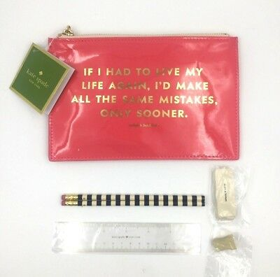 Kate Spade New York Same Mistakes Pink Pencil Pouch with Office Supplies