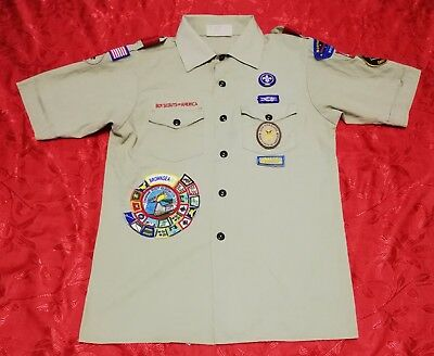 Vintage OFFICIAL BSA CUB BOY SCOUTS OF AMERICA Uniform shirts Q726 YOUTH Large