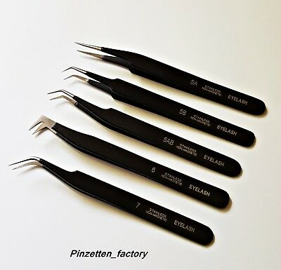 BLACK Wimpern Pinzette, Wimpernverlängerung,Non Magnetic Stainless Steel(EYELASH