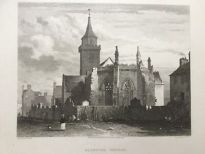 1819 Antique Print; St Nicholas' Church, Dalkeith, Scotland after Edward Blore