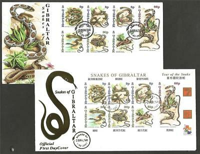 GIBRALTAR 2001 CHINESE YEAR of the SNAKE SET & M/S FDC's COVERS