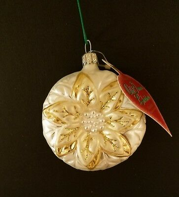 Poinsettia German Glass Mouth Blown & Hand Decorated Holiday Ornament White Nwt