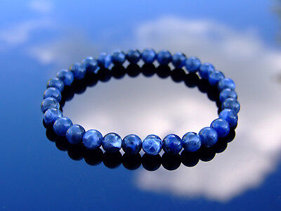 Sodalite Natural 6mm Gemstone Bracelet 6-9'' Elasticated Healing Stone Chakra