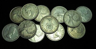 Canada 12 .800 Fine 25 Cent, Quarters.  World - Foreign Silver Coins. Free Ship!