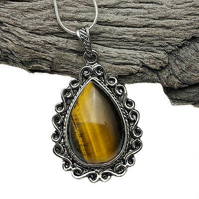 Antique silver Tone Vintage Style Tiger's Eye Pendant on silver plated Necklace