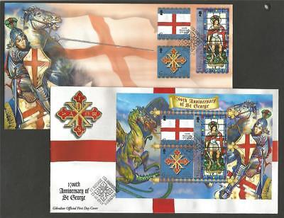 GIBRALTAR 2003 St GEORGE SET & M/S FDC's COVERS FLAGS DRAGON