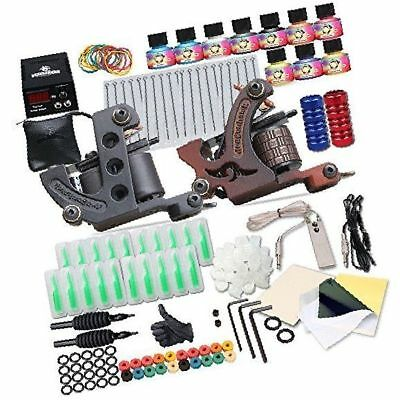 Complete Tattoo Kit 2 Machine Gun 10 Color Inks Power Supply Coils