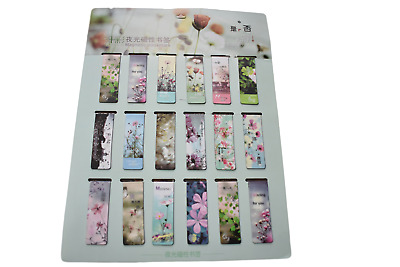 2x Novelty Arty Floral Flower Design Magnetic Bookmark Page Markers Free UK P&P