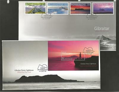 GIBRALTAR 2007 VIEWS SET & M/S FDC's COVERS TRINITY LIGHTHOUSE