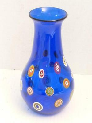 Cobalt Blue Murano Hand Blown Free Form Swirl Vase w/Etched Signature (EUC)