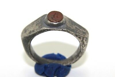 Exquisite Greek Silver Dionysus Grape Symbol Ring With Glass! Authentic!   P64