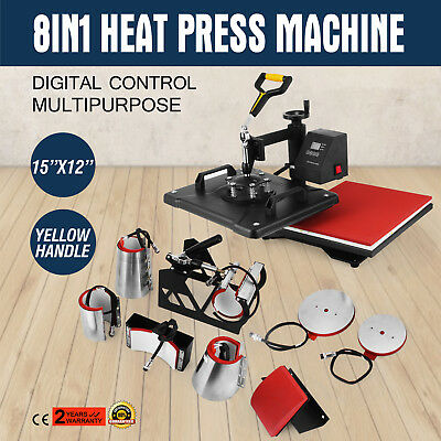 8in1 Digital Heat Press Machine Transfer T-Shirt Cap Sublimation Printer UPDATED