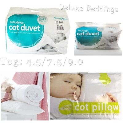 New Anti-Allergy Toddler Baby Cot Bed Duvet/Quilt & Pillow_Tog 4.5, 7.5 and 9