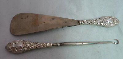 Edwardian Silver Button Hook & SHoe Horn WJM Birmingham 1906 A655917