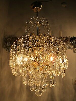 Vnt French Waterfall Style Real Swarovkski Crystal Chandelier 1960's 14in Ø dmtr