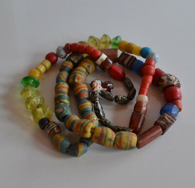 Antique Venetian African multicolor Glass Trade Beads Necklace