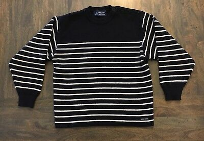 Saint James Dupuis Made in France Navy Striped Breton Wool Blend Sweater Kids