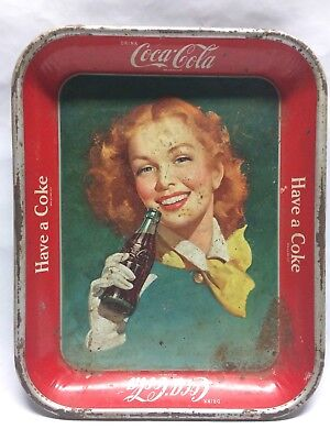 Vintage 1948 Coca Cola Have a Coke Serving Tray Redhead w/ White Glove
