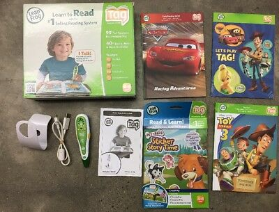 Leap Frog Tag Reader Pen, 12 Books (plus 2) , USB Cable, Learn to Read LOT SET