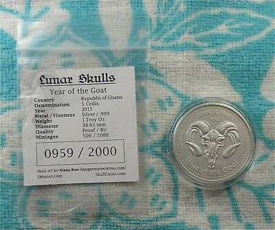 2015 Republic of Ghana Year of the Goat Skull 999 Silver Coin * Ebay Bux *