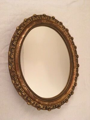 Vintage Gold Gilt OVAL WALL MIRROR w Ornate Detail