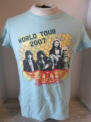 2007 Aerosmith World Tour Light Blue T-Shirt Bella Woman's Size Large