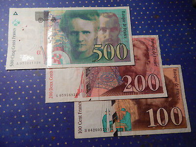 3 Piece Lot - Francs French Currency Notes