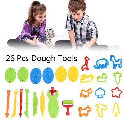 26x Kids Play Dough Tools Set Doh Clay Modelling Rolling Pins Cookie Cutters Pin