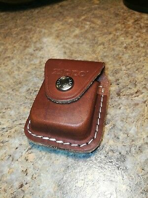 Zippo Lighter Pouch Case Brown Leather With Clip