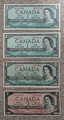 Lot Of 4 1954 Bank Of Canada Three 1 And One 2 Dollar Bank Notes Very Nice Bills