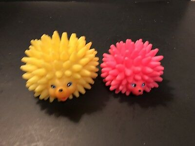 Vtg Pair of W Germany Hedgehog Dog/Baby Toy Rubber Squeak Toys Squeakers Work