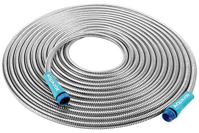 50 Ft. Stainless Steel Metal Garden Hose Heavy Duty Spiral Constructed Sun Joe
