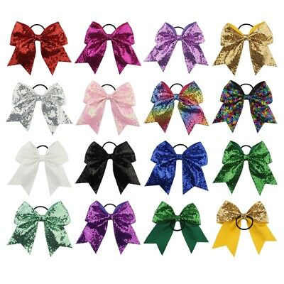 "16 Color 8"" Large Cheer Bow Cheerleading Girls Bow Hair Tie Elastic Hair Bands"