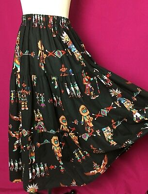 Vtg 90s Jody Southwest Tiered Skirt Native American Tribal Print Broomstick S-M
