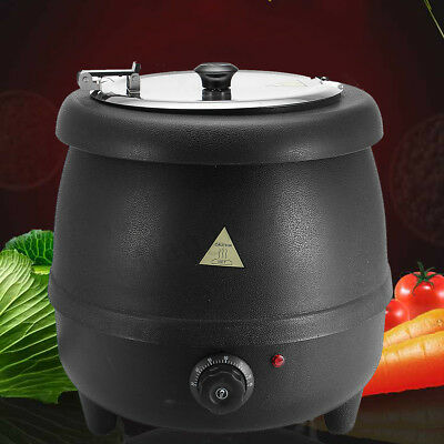 400W 10L Stainless Steel Soup Kettle Electric Bolier Black Restaurant  98°C Max